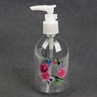 Бутылочка для хранения «Цветы», с дозатором, 270 мл, цвет белый