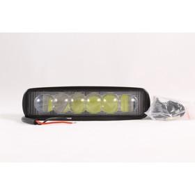 Фара светодиодная OFF ROAD, KS-W106S-LENS, 6 диодов, 18 Вт, линза, направленный свет, алюминиевый корпус, пылевлагозащищенный, 155х55х40 мм, 12/24 В Ош