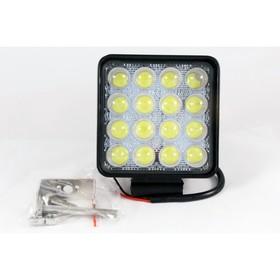 Фара светодиодная OFF ROAD, KS-WSQ 016S-LENS, 16 диодов, 48 Вт, линза, направленный свет, алюминиевый корпус, пылевлагозащищенный, 110х45х125 мм, 12/24 В
