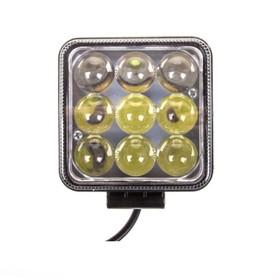 Фара светодиодная OFF ROAD, KS-WSQ009S-LM, 9 диодов, 27 Вт, линза, направленный свет, алюминиевый корпус, пылевлагозащищенный, 100х55х115 мм, 12/24 В