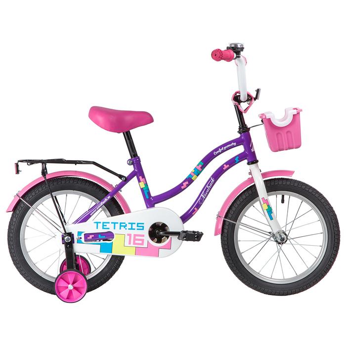 """Велосипед 16"""" Novatrack Tetris, 2020, цвет фиолетовый"""