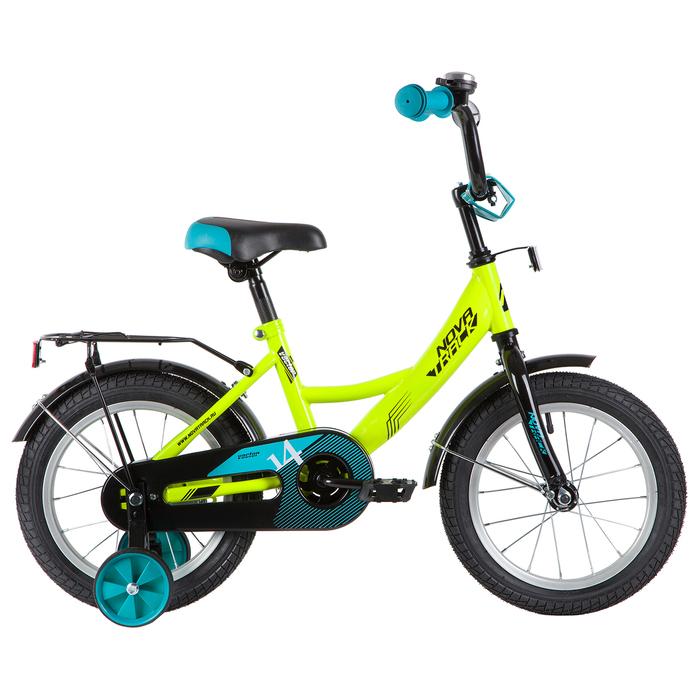 """Велосипед 14"""" Novatrack Vector, 2020, цвет салатовый"""