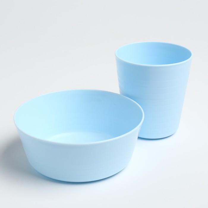 Набор детской посуды (стакан+миска), цвет голубой - фото 105458503
