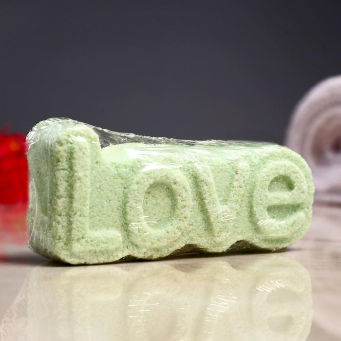 """Шипучая бомбочка """"Love"""" с ароматом яблока, зелёная"""