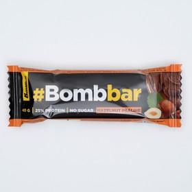Протеиновый батончик Bombbar в шоколаде, фундучное пралине, 40 г