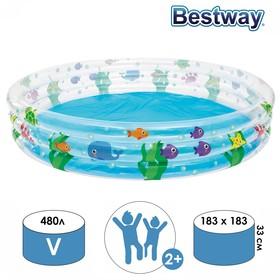 Бассейн надувной «Подводный мир», 183 х 33 см, 51005 Bestway