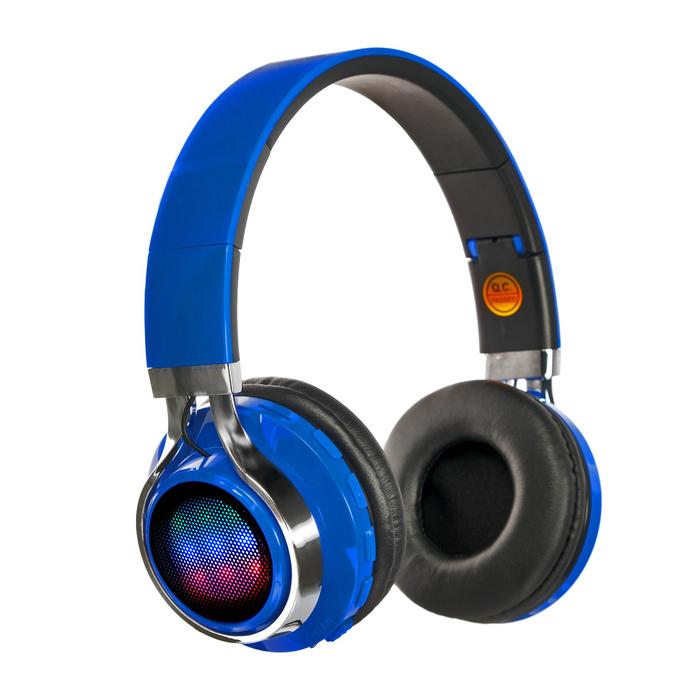 Наушники LuazON, Bluetooth 4.2, 250 мАч, LED, FM, microSD, синие - фото 274711330
