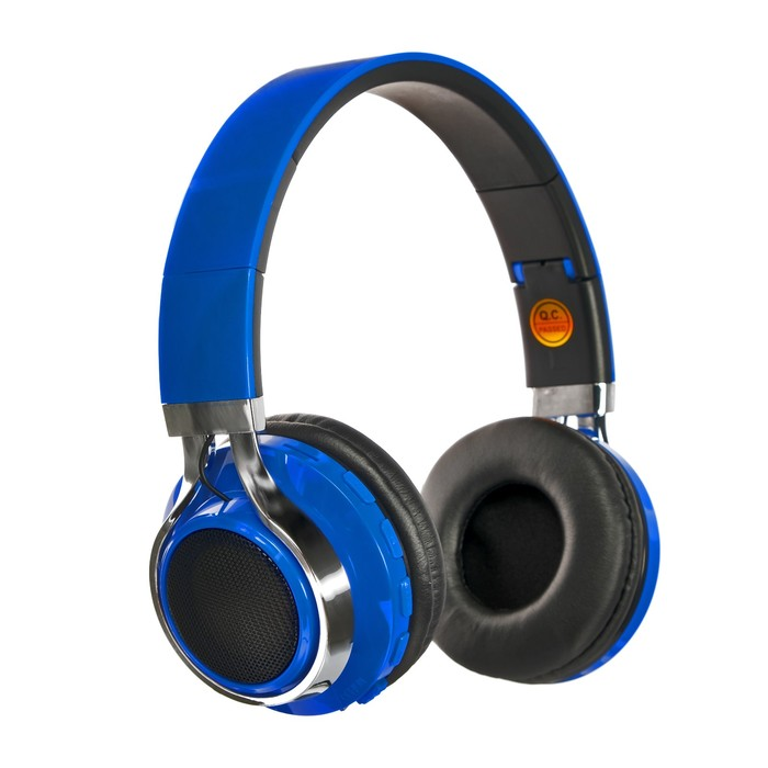 Наушники LuazON, Bluetooth 4.2, 250 мАч, LED, FM, microSD, синие - фото 274711331