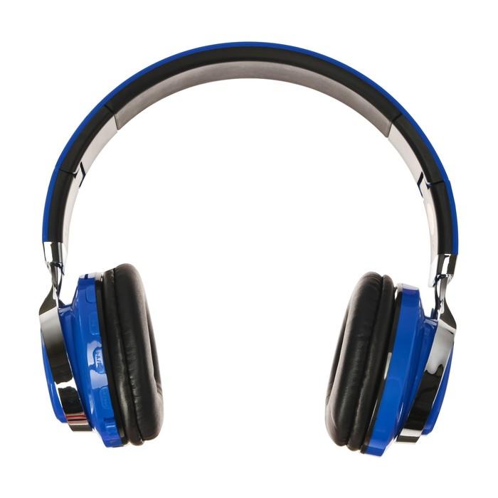 Наушники LuazON, Bluetooth 4.2, 250 мАч, LED, FM, microSD, синие - фото 274711332