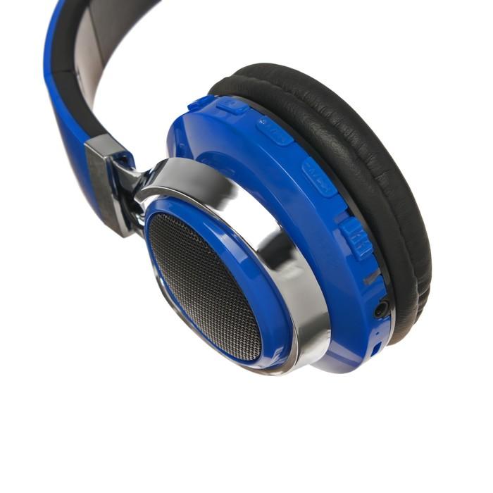 Наушники LuazON, Bluetooth 4.2, 250 мАч, LED, FM, microSD, синие - фото 274711334