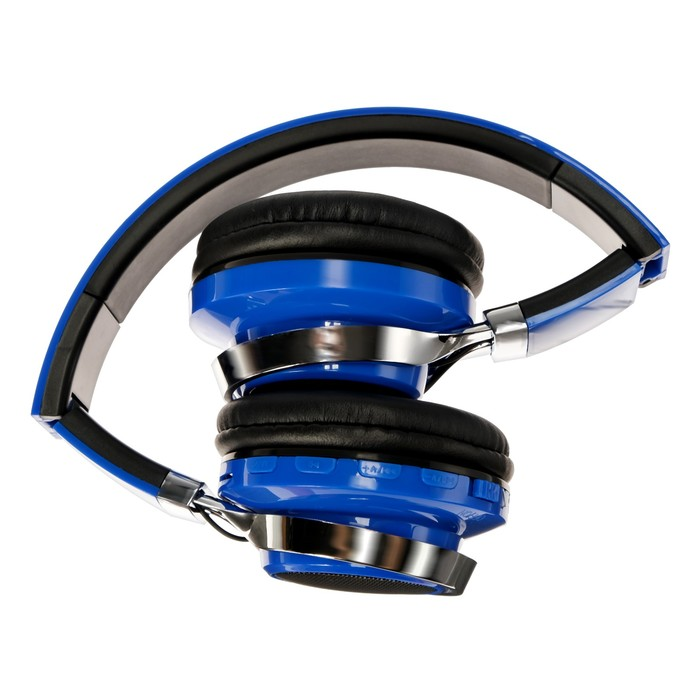 Наушники LuazON, Bluetooth 4.2, 250 мАч, LED, FM, microSD, синие - фото 274711337