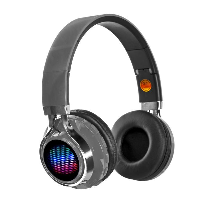 Наушники LuazON, Bluetooth 4.2, 250 мАч, LED, FM, microSD, серые - фото 274711339