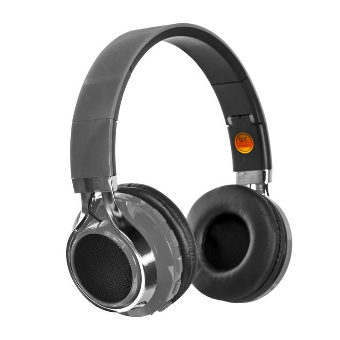 Наушники LuazON, Bluetooth 4.2, 250 мАч, LED, FM, microSD, серые - фото 274711340
