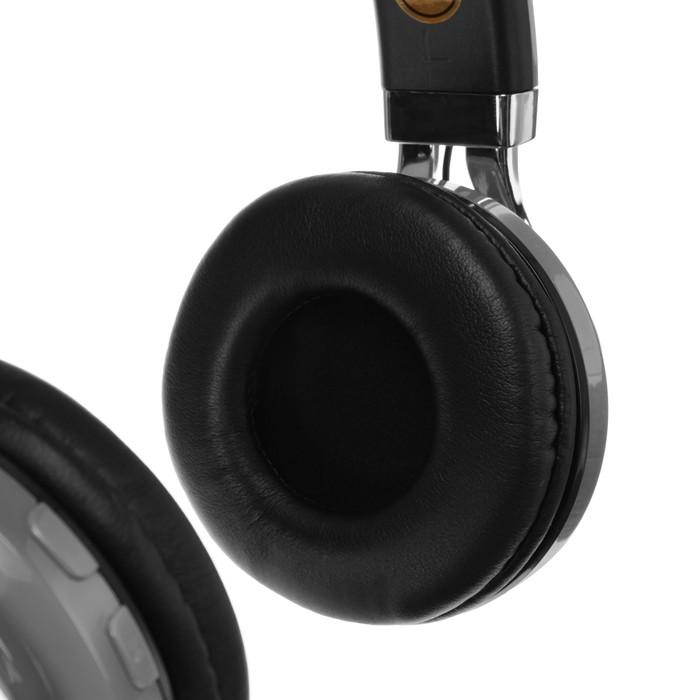 Наушники LuazON, Bluetooth 4.2, 250 мАч, LED, FM, microSD, серые - фото 274711343