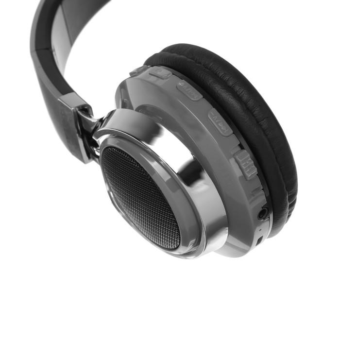 Наушники LuazON, Bluetooth 4.2, 250 мАч, LED, FM, microSD, серые - фото 274711344