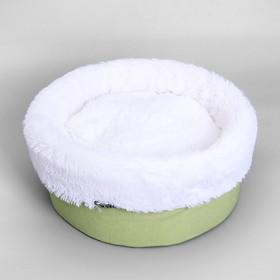 """Лежанка """"Фисташка"""" круглая, мебельная ткань/мех, 37 х 37 х 16 см"""