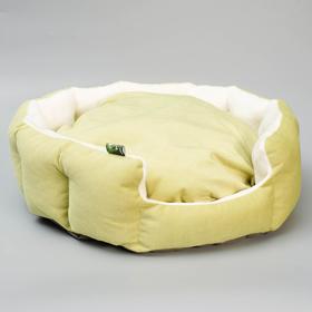 """Лежанка """"Пухлик корзинка"""" Фисташка, большая, мебельная ткань, 50 х 50 х 20 см"""