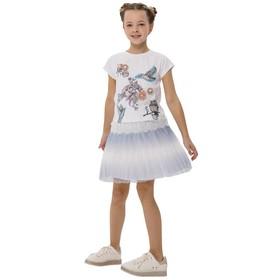 Блузка для девочек, рост 140 см, цвет белый