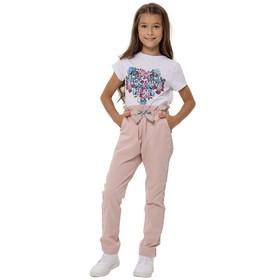 Брюки для девочек, рост 128 см, цвет розовый