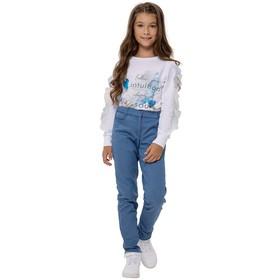Брюки для девочек, рост 140 см, цвет голубой