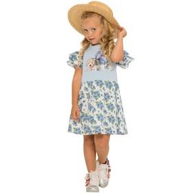 Платье для девочек, рост 116 см, цвет голубой