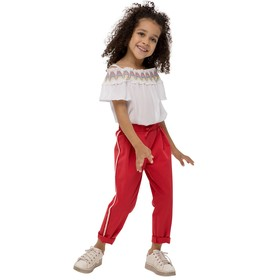 Брюки для девочек, рост 110 см, цвет красный