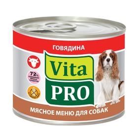 "Влажный корм VitaPro ""Мясное меню"" для собак, говядина, ж/б, 200 г"