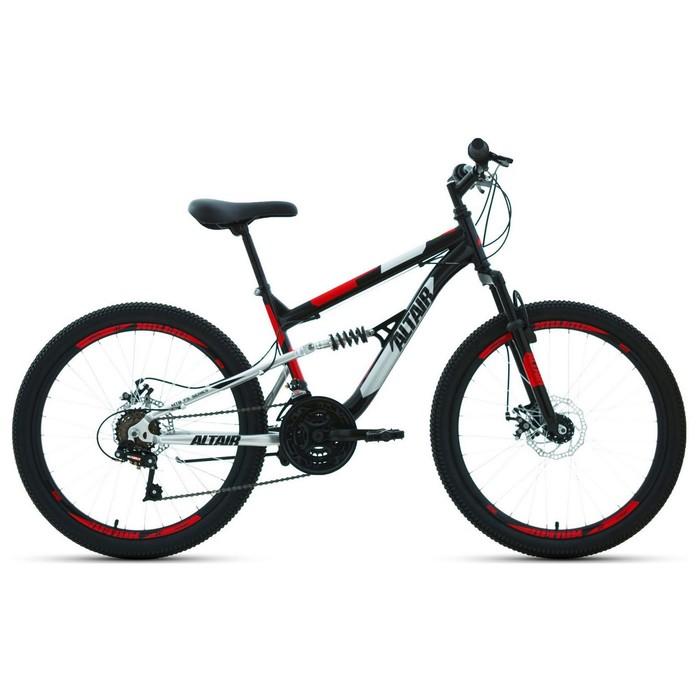 """Велосипед 24"""" Altair MTB FS disc, 2020, цвет чёрный/красный, размер 15"""""""