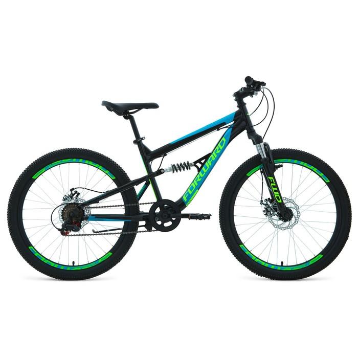 """Велосипед 24"""" Forward Raptor 2.0 disc, 2020, цвет чёрный/бирюзовый, размер 15"""""""