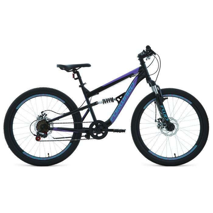 """Велосипед 24"""" Forward Raptor 2.0 disc, 2020, цвет чёрный/фиолетовый, размер 15"""""""