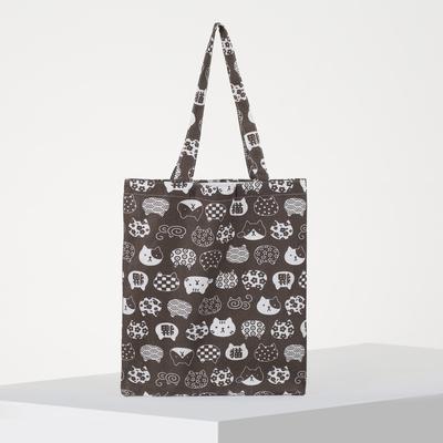 Textile bag Cats 37*1*38 Department zip, no padding, brown