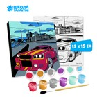 "Painting on canvas ""a Car in the city"" 15x15 cm"