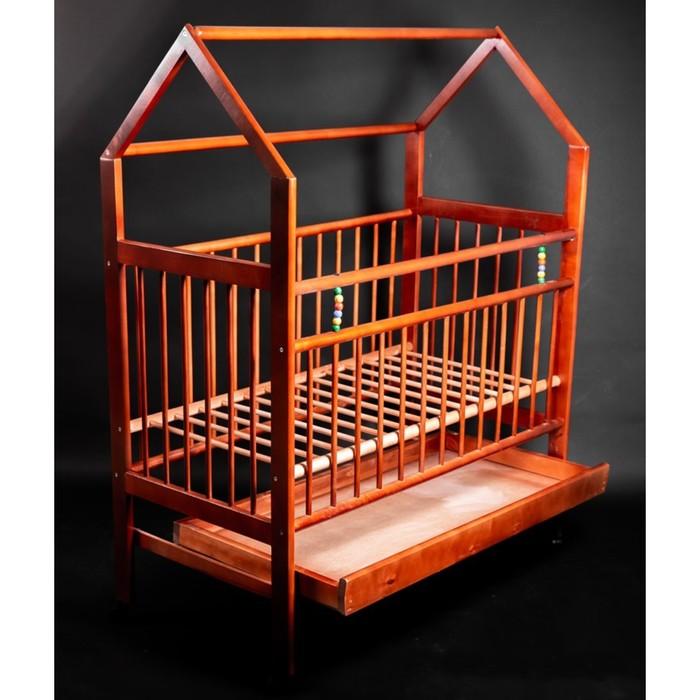 Кровать детская Женечка-10 домик,ящик, цвет орех