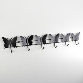 Вешалка настенная на 6 крючков Доляна «Бабочки», 57×10×3,5 см, цвет чёрный