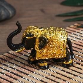 """Нэцке полистоун """"Слон - символ богатства"""" чёрный с золотом 5,3х3х7 см"""