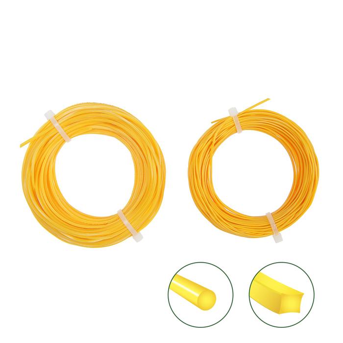 Набор лесок для триммера EGER, круг/квадрат, d=1.3 мм, 15 м, нейлон
