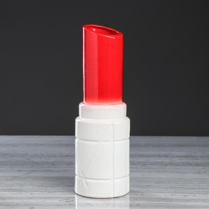 """Ваза настольная """"Помада"""", красная, 27 см, микс, керамика - фото 837197"""