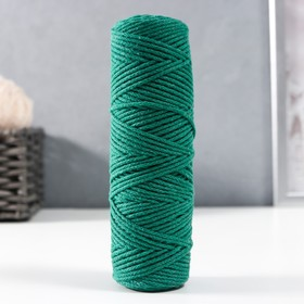 Cord knitting without core 100% cotton width 2mm 100m / 95g (2121 T. green)