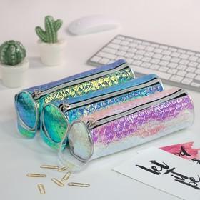 Pencil case-tube school zip MIX Mirror holography reflenye