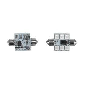 Autolamp C5W led 6-SMD, 36 mm, 12 VDC, multi glow remote, 2 PCs set
