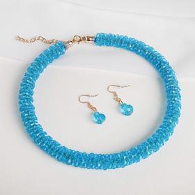 "Set: earrings, necklace, ""Margaret"" dense yarn color turquoise"