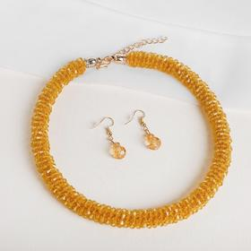 """Set: earrings, necklace, """"Margaret"""" thick thread, color gold"""