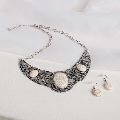 """Set of 2 pieces: earrings, necklaces """"Coal"""" marble, white in nielloed silver, L=43"""