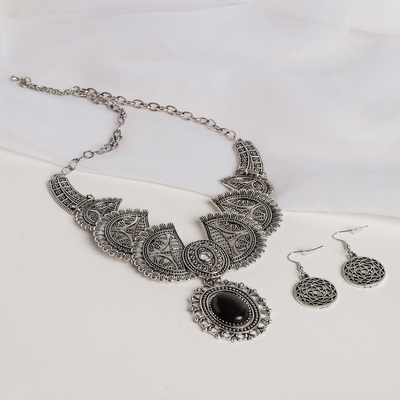 """Set of 2 pieces: earrings, necklaces """"Elvish"""" sun, mix color, L=43"""