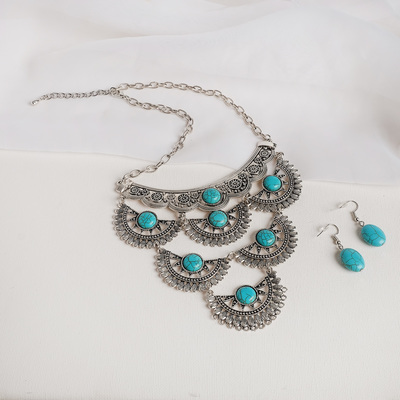 """Set of 2 pieces: earrings, necklaces """"Elf"""" tiers, color blue in nielloed silver, L=43"""