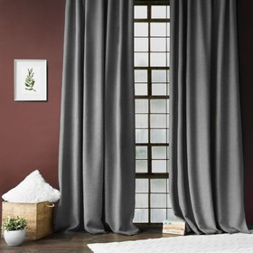 Комплект штор «Джерри», размер 140 х 270 см - 2 шт, подхват - 2 шт, цвет серый