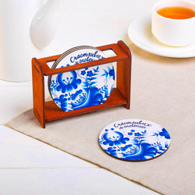 "A set of coasters under hot ""Happy moments"" wood, 4 piece"