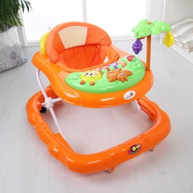 Ходунки «Пальма», 7 силик. колес, муз., игрушки, оранжевый
