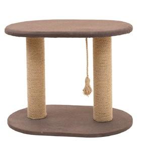 "Когтеточка ""Кантри"" овальная, 2 столбика, 65 х 43 х 51 см, джут, рогожка, микс"