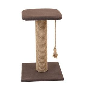 "Когтеточка-столбик с полкой ""Кантри"", 37 х 37 х 49 см, рогожка, джут, микс цветов"